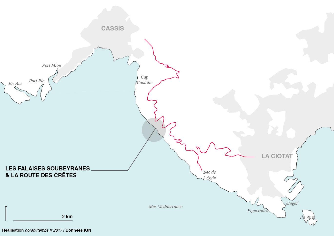 carte route des cretes cassis