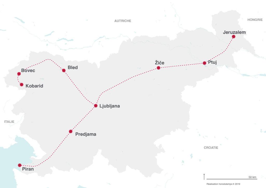carte itineraire road trip slovenie